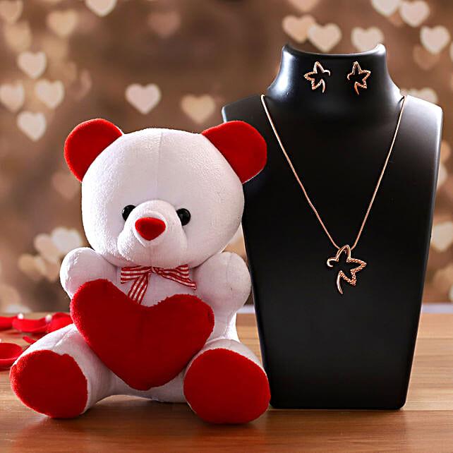 Cute Teddy With Estele Starry Pendant Set
