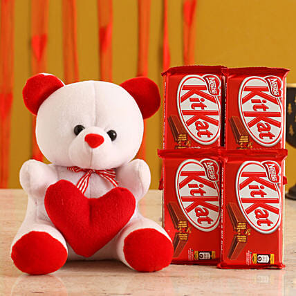 Valentines Teddy Bear & Chocolates for Her:Teddy Day Soft Toys