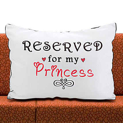 Daddys Princess-1 White Pillow Cover 22x17 inches:Birthday Cushions