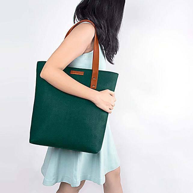 Online Green Felt Classic Tote Bag