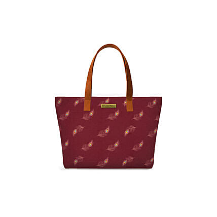 Online Maroon Feathers Fatty Tote Bag
