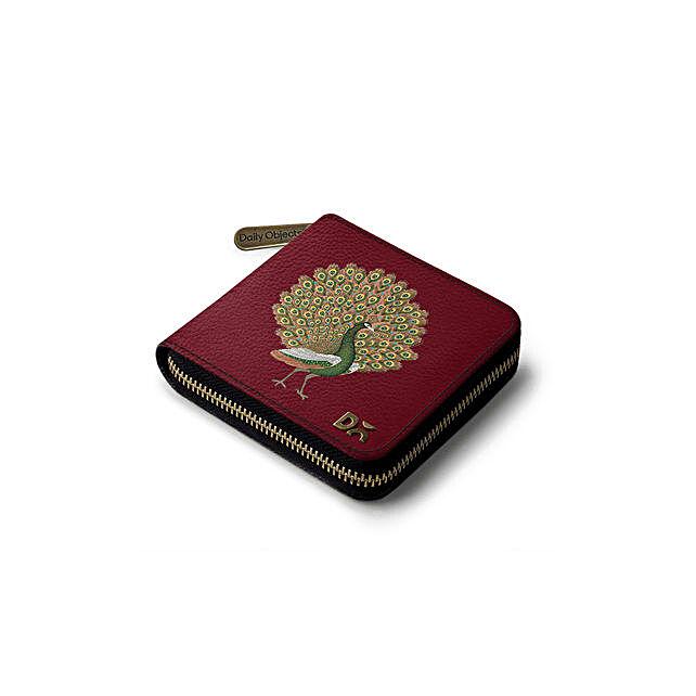Online Maroon Peacocking Zip Wallet
