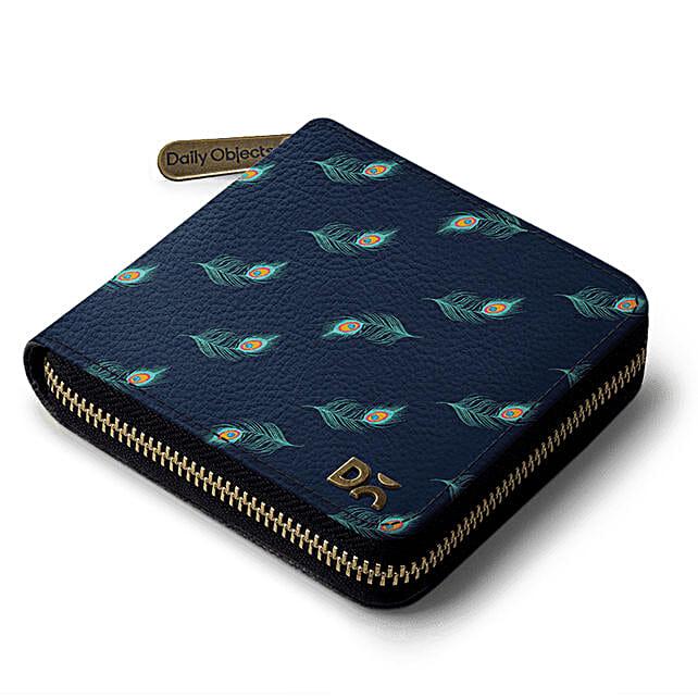Online Navy Feathers Zip Wallet:Buy Wallets