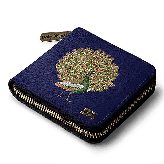 Online Navy Peacocking Zip Wallet