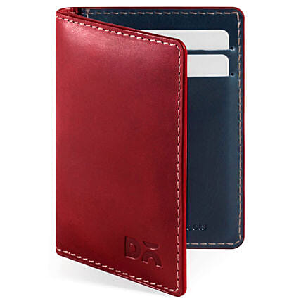 Online Scarlet Red Log Bi-Fold Leather Wallet:Accessories