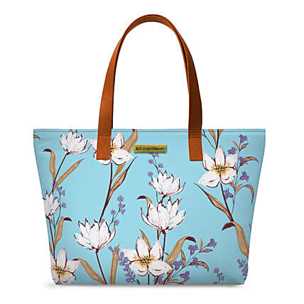 Online Sky Blue Lillies Fatty Tote Bag:Tote Bags