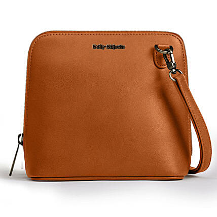Online Tan Vegan Leather- Trapeze Crossbody Bag