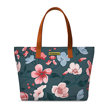 Online Teal Blooms Fatty Tote Bag:Tote Bags
