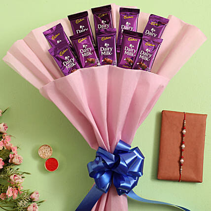 Pearl Rakhi and Dairy Milk Bouquet Online