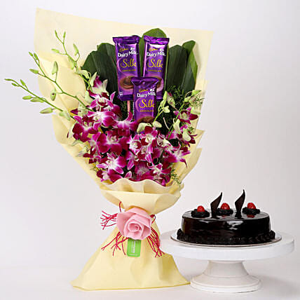 Online Dairy Milk & Orchids With Truffle Cake
