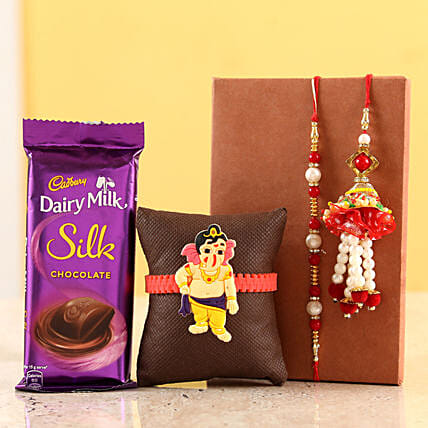 Dairy Milk Silk With Family Rakhi Set