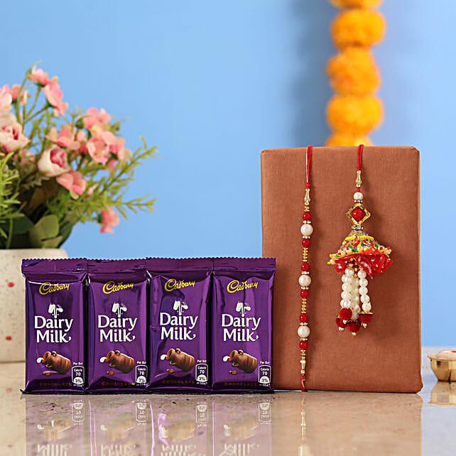 Pearl and Lumba rakhi with dairy milk chocolate online