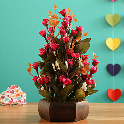 Dark Pink Mini Bud Arrangement:Artificial Flowers
