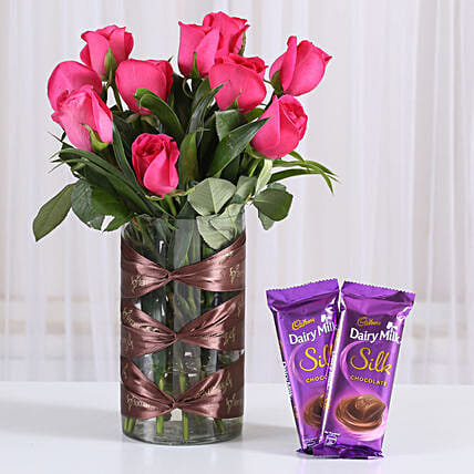 Dark Pink roses in vase & silk chocolate combo