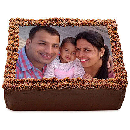 Delicious Chocolate Photo Cake 1kg:Personalised Gifts for Parents