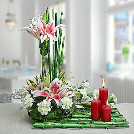 Flower arrangement and candles