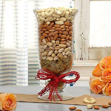 Mixed dry fruits in a glass vase:Send Best Diwali Gift For Brother
