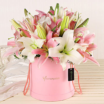 Online Lilies Bouquet:Flowers In box