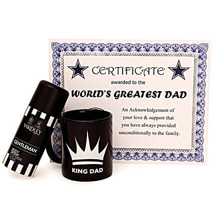 Deo and Mug Combo-Fathers Day Certificate,150 ml Yardley Body Spray,classic black Coffee Mug