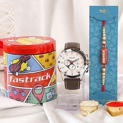 Designer Capsule Rakhi and Fastrack Big Time Watch:Rakhi With Accessories