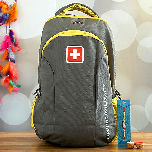 Designer Capsule Rakhi and Swiss Military Backpack Hamper:Rakhi With Accessories
