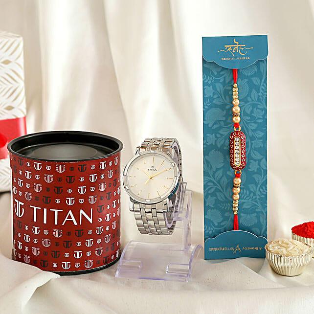 Designer Capsule Rakhi and Titan Silver Watch