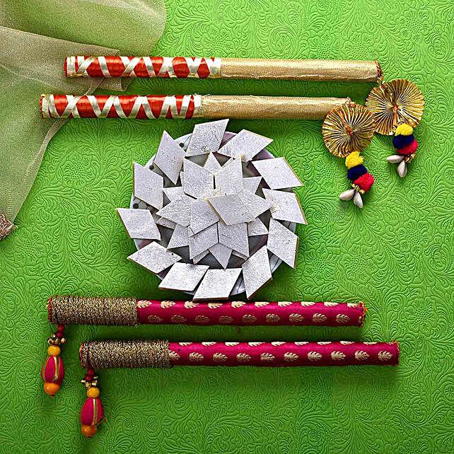 Designer Dandiya Sticks & Kaju Barfi Combo