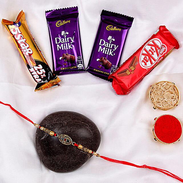 rakhi with sweet chocolates combo