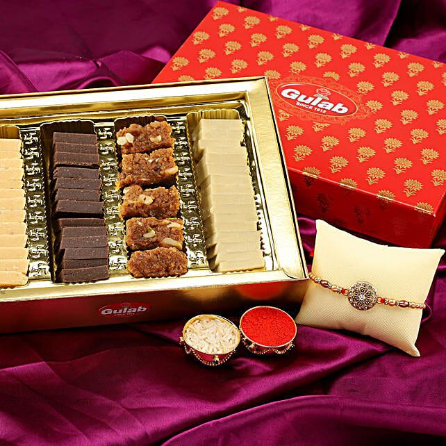 Designer Rakhi & Assorted Sweet Box
