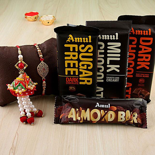 Designer Rakhi & Lumba Chocolates Combo:Send Pearl Rakhi