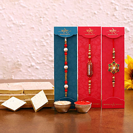 Designer rakhi set with kaju katli sweets