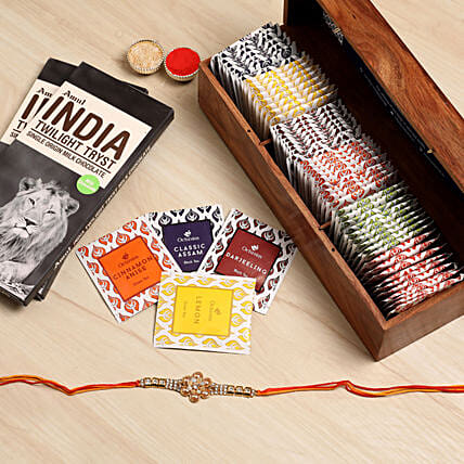 Designer Rakhi With Assorted Tea Packs & Choco