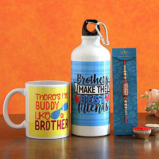 Designer Rakhi With Mug N Bottle Hand Delivery