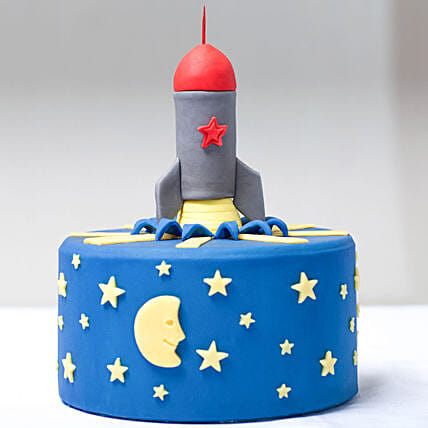 Blue Rocket Shape Cake For Kids