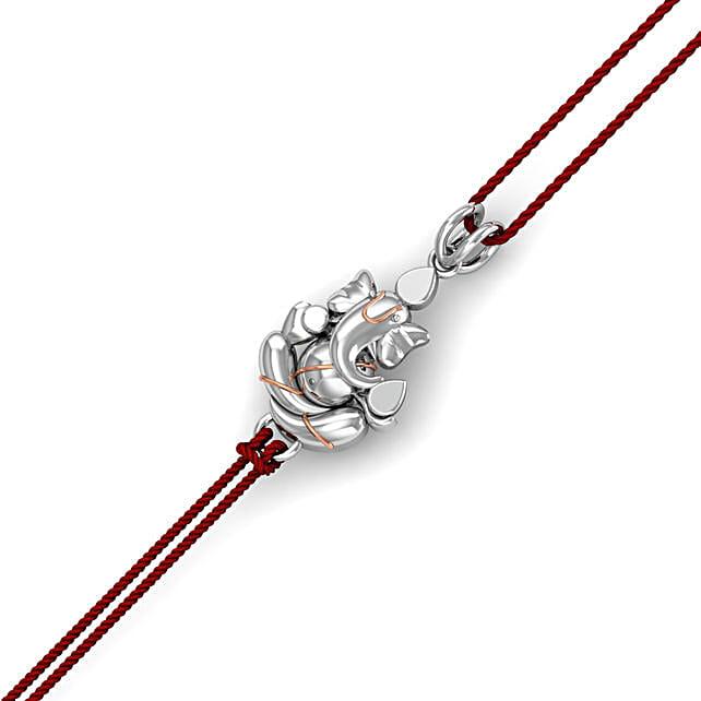 Devotional Pure Silver Lord Ganesha Rakhi