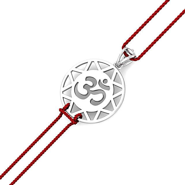 Devotional Pure Silver Om Rakhi