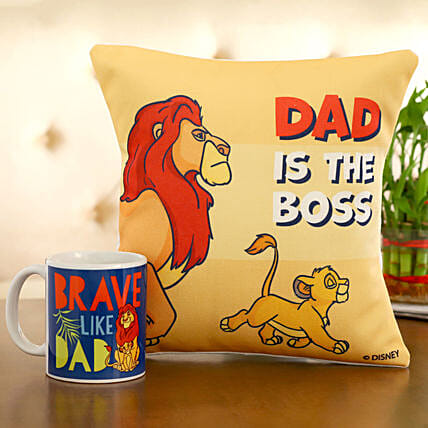 Disney Dad Is The Boss Cushion Mug Hand Delivery:Fathers Day Gifts Mall