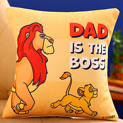 Disney Dad Is The Boss Printed Cushion Hand Delivery:Fathers Day All Gifts