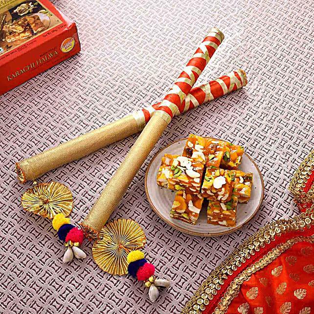 Divine Dandiya Sticks & Karachi Halwa Combo