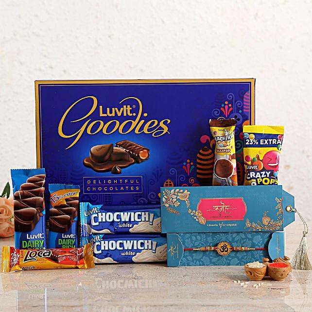 Divine Om Rakhi & Chocolates:Luvit Chocolates