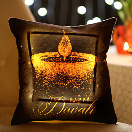 Diwali Diya Printed LED Cushion