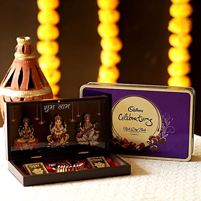 pooja diwali thali with sweet chocolates box online