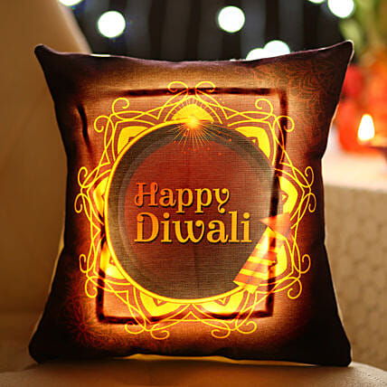 Diwali Diya Printed LED Cushion Online