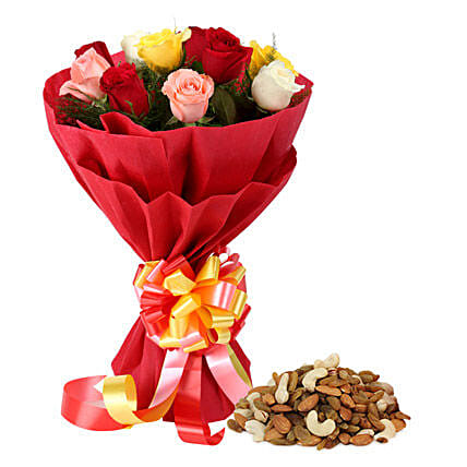 Multi colored roses bunch with dry fruits:Flower N Dry Fruit