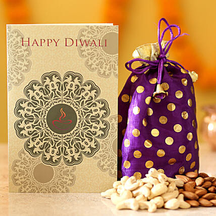 Dryfruit potli with greeting card for diwali