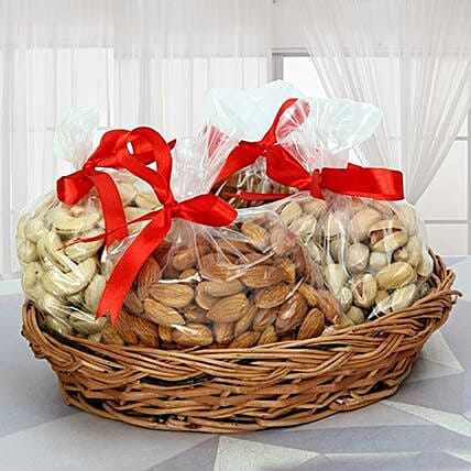 Dry fruits in a basket:Bhaubij Gift For Brother