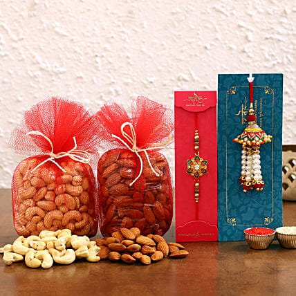 Meenakari and Lumba Rakhi With Dry Fruits Online