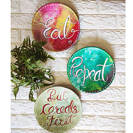 Eat Repeat Wall Plate:Handicrafts