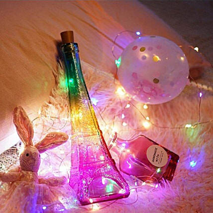 Eiffel Tower Bottle Colourful Night Lamp:Show Piece