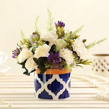 faux flower with vase arrangement:Artificial Flowers